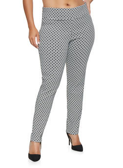 Plus Size Printed Dress Pants - 3861062706011