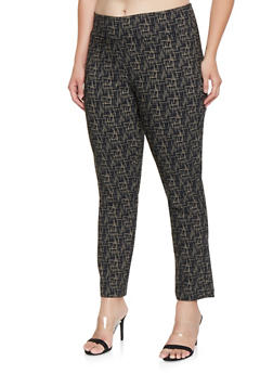 Plus Size Printed Pull On Dress Pants - 3861062706012