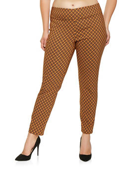 Plus Size Printed Pull On Pants - 3861062706013