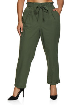 Plus Size Cuffed Tie Front Pants - 3861074010011