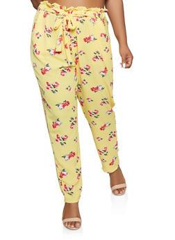 Plus Size Floral Tie Front Paper Bag Waist Pants - 3861074010023