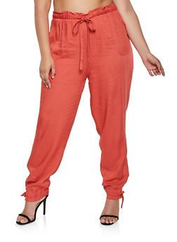 Plus Size Tie Paper Bag Waist Pants - 3861074010026