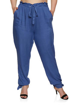 Plus Size Tie Paper Bag Waist Pants - 3861074010026
