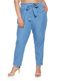 Plus Size Chambray Fixed Cuff Pants - 3861074017059