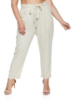 Plus Size Tie Front Cuffed Pants - 3861074017659