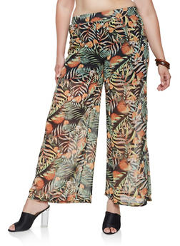 Plus Size Tropical Print Palazzo Pants - 3861074280324