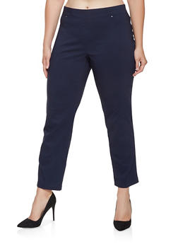 Plus Size Pull On Stretch Pants - 3861074540243