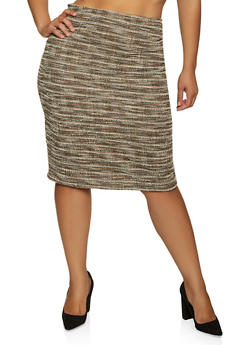 Plus Size Tweed Pencil Skirt - 3862020624395