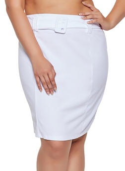 Plus Size Crepe Knit Belted Pencil Skirt - 3862020626667