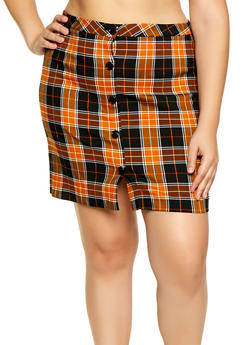 Plus Size Plaid Button Front Pencil Skirt - 3862056574608