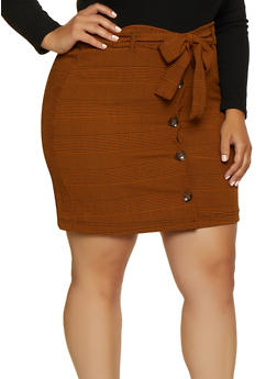 Plus Size Button Front Plaid Skirt - 3862056574630
