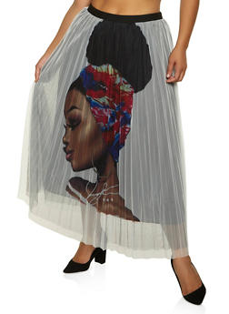 Plus Size Afro Girl Pleated Mesh Skirt - 3862062121800
