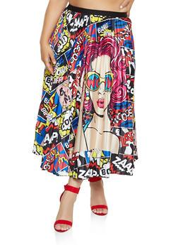 Plus Size Pleated Pop Art Maxi Skirt - 3862062122856