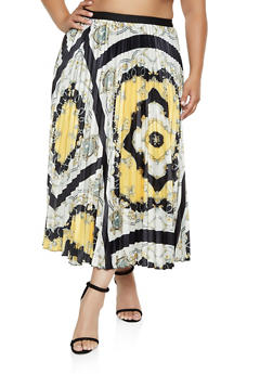 Plus Size Pleated Maxi Printed Skirt - 3862062122857