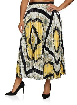 Plus Size Printed Skater Maxi Skirt - 3862062127980