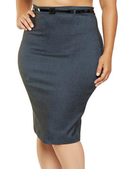 Plus Size Belted Stretch Pencil Skirt - 3862062700008