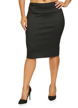 Plus Size Striped Pencil Skirt - 3862062706881