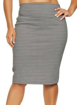 Plus Size Printed Pencil Skirt - 3862062706882