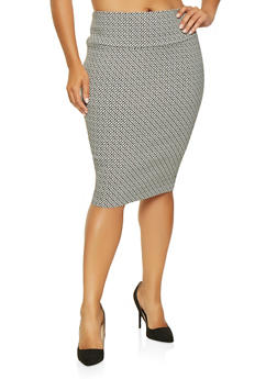 Plus Size Printed Pencil Skirt - 3862062706883