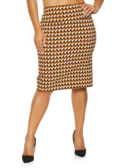 Plus Size Printed Pencil Skirt - 3862062706884