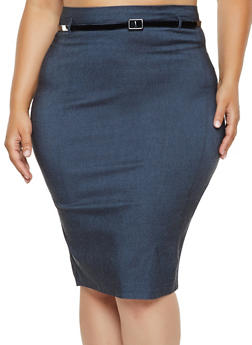 Plus Size Belted Pencil Skirt - 3862062707127
