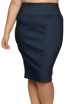 Plus Size Midi Stretch Pencil Skirt - 3862074011660