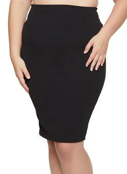 Plus Size Crepe Knit Stretch Pencil Skirt - 3862074011661