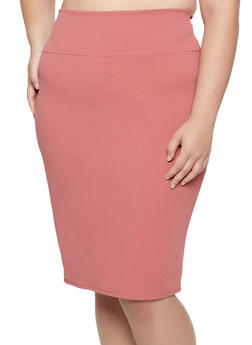 Plus Size Crepe Knit Stretch Pencil Skirt - 3862074011661