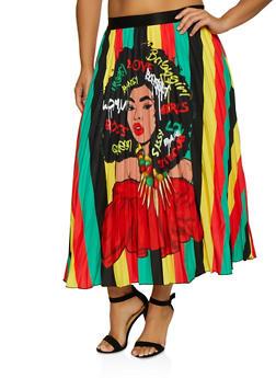 Plus Size Printed Pleated Circle Skirt - 3862074281003