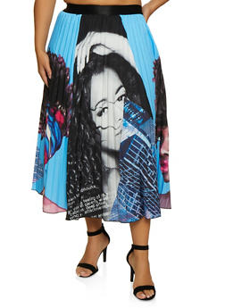 Plus Size Face Print Pleated Circle Skirt - 3862074281004