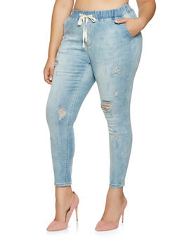 Plus Size Almost Famous Elastic Waistband Jeans - 3870015990008