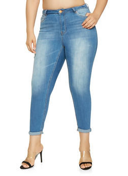Plus Size Almost Famous Roll Cuff Skinny Jeans - 3870015990013