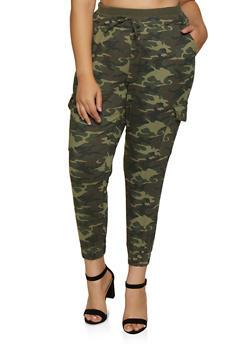 Plus Size Knit Waist Camo Cargo Joggers - 3870015990046