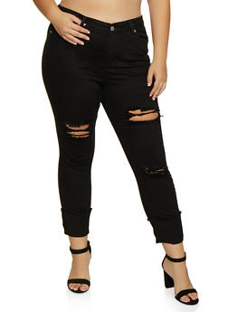 Plus Size Almost Famous Frayed Roll Cuff Jeans - 3870015990084