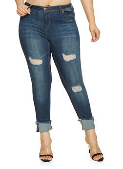 Plus Size Almost Famous Raw Hem Skinny Jeans - 3870015990184