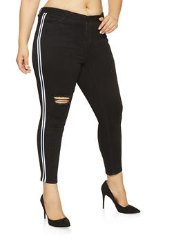 Plus Size Almost Famous Side Stripe Skinny Jeans - 3870015990213
