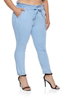 Plus Size Almost Famous Paper Bag Waist Jeans - 3870015990241