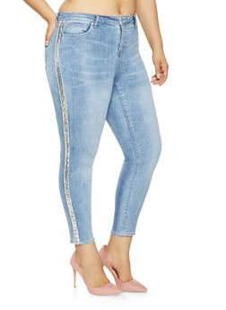 Plus Size Almost Famous Sequin Tape Jeans - 3870015990250