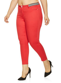 Plus Size Almost Famous Striped Elastic Waist Jeans - 3870015990265