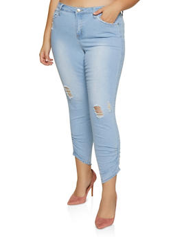 Plus Size Almost Famous Ruched Distressed Jeans - 3870015990359