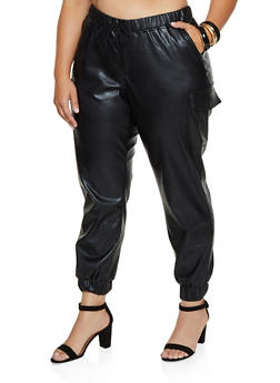 Plus Size Faux Leather Cargo Joggers - 3870015990404