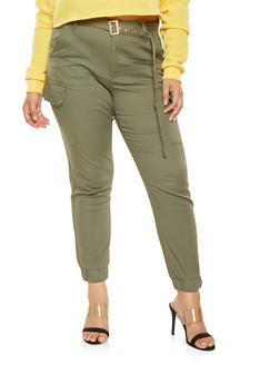 Plus Size Belted Cargo Joggers - 3870015990900