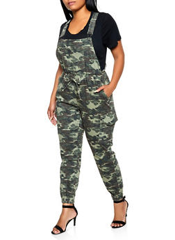 Plus Size Almost Famous Camo Denim Cargo Overalls - 3870015991100