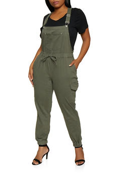 Plus Size Almost Famous Denim Cargo Overalls - 3870015991110