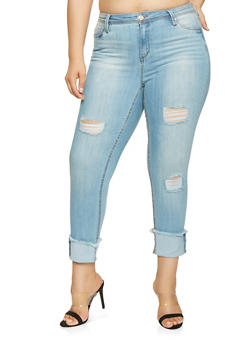 Plus Size Almost Famous Frayed Hem Jeans - 3870015991184