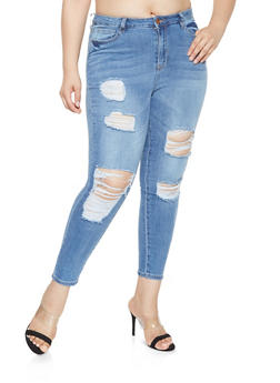 Plus Size Almost Famous Destroyed Skinny Jeans - 3870015991186