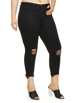 Plus Size Almost Famous Frayed Zip Hem Jeans - 3870015991777