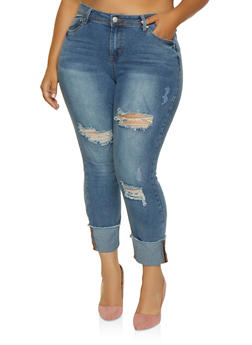 Plus Size Almost Famous Distressed Fixed Cuff Jeans - 3870015991841
