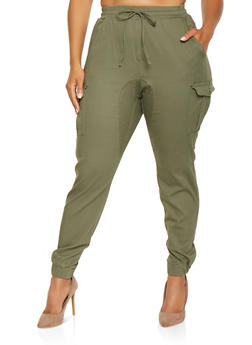 Plus Size Solid Cargo Joggers - 3870015991994