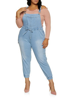 Plus Size Almost Famous Cargo Denim Overalls - 3870015992110